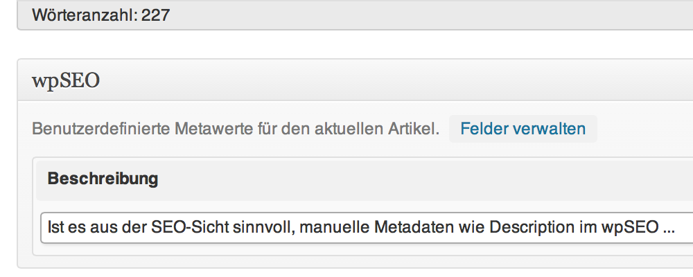 Manuelle Description im wpSEO Feld