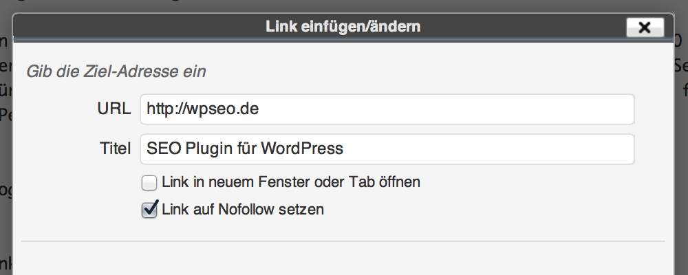 Praktische Option für Nofollow-Links