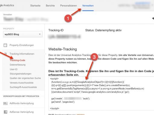 Google Analytics WordPress Integration Schritt 1