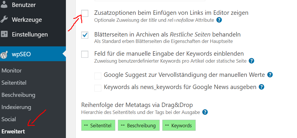 Links in WordPress auf Nofollow setzen