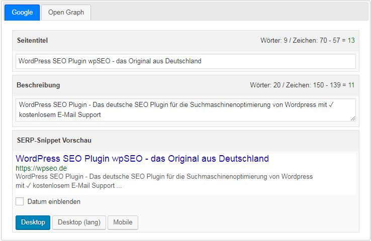 WordPress SEO Snippet Vorschau