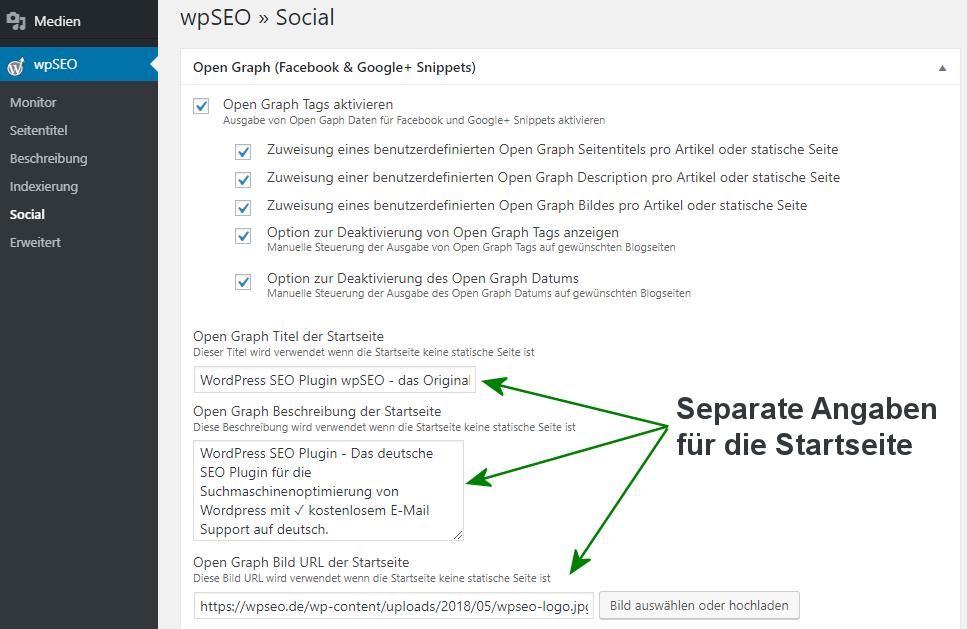 Open Graph Angaben für die WordPress Startseite in wpSEO